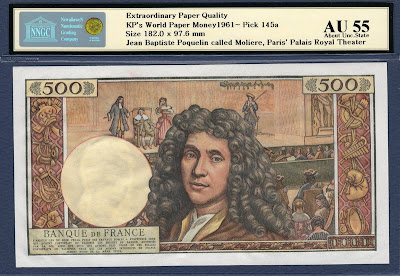 bank France money currency 500 French new francs Moliere billete banknote bill