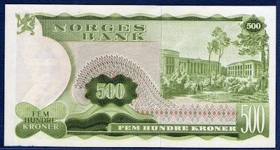 Norway currency 500 Norwegian krone banknote University of Oslo