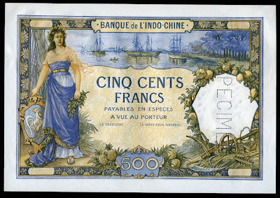 French Indochina 500 Francs banknote Tahiti money currency imsges