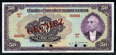 50 Turkish Lira Turkey money banknotes Mustafa İsmet İnönü