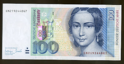 German banknotes 100 Deutsche Mark Clara Schumann banknote