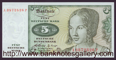German money currency 5 Deutsche Mark banknote Deutsche Bundesbank