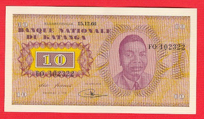 Paper money Katanga Congo Zaire currency francs Tshombe