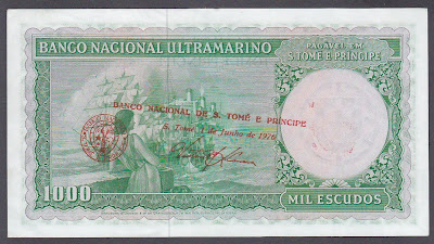Saint Thomas & Prince paper money 1000 Escudos banknote Banco National Ultramarino