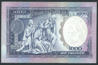 Portuguese paper money currency 1000 Escudos note bill