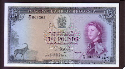 British banknotes Rhodesia 5 punds note young Queen Elizabeth II