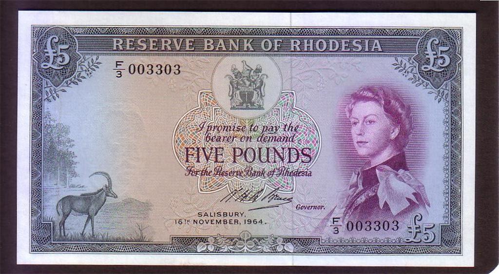Rhodesian Banknotes Five Pound Note 1964 Queen Elizabeth