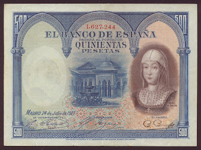 SPAIN paper money 500 Pesetas banknote Isabel la Catolica