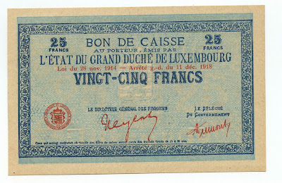 Luxembourg banknotes 25 francs bon de caisse Francs Mark Franken paper money