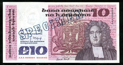 Ireland currency money 10 Pounds banknote
