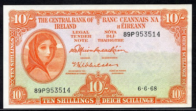 Irish banknotes 10 Shillings note Lady banknote Lavery paper money