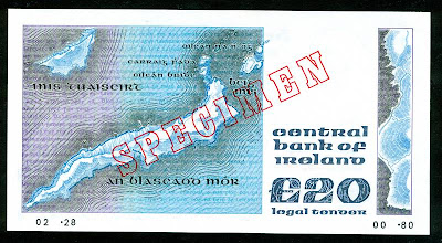 Ireland money currency 20 Pounds banknote collection