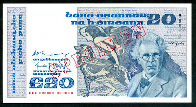 Currency of Ireland &#163;20 Pounds banknote