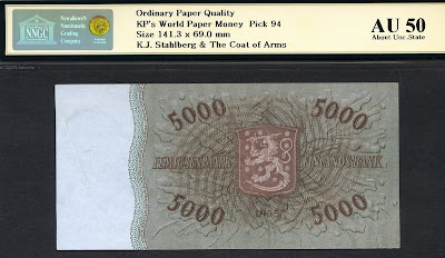 5000 Finnish markka bank note