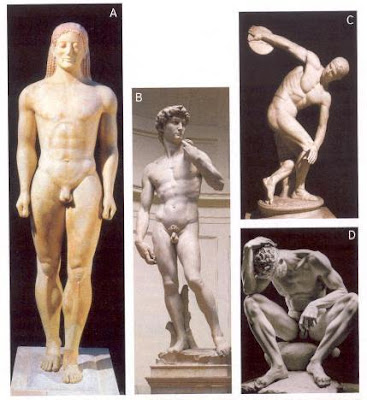 Queer stone sculptures of naked men A.) Kroisos Kouros, B.) David, C.) Discobolus, D.) The Wounded