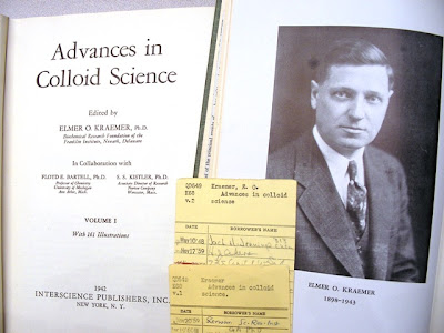 left, title page of Elmer Kraemer, 'Advances in Colloid Chemistry, Vo1ume 1' 1942; right, Volume 2, initiated by Elmer Kraemer and published after his death included his photo and a biography of his life