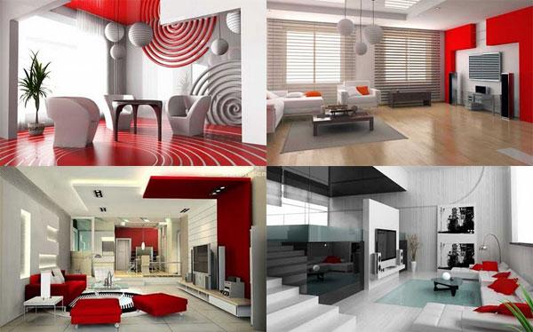 Design interior design ideas living room red and white combination