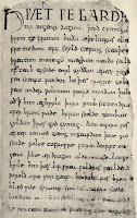 Old English manuscript showing the Old English alphabet letters
