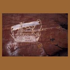 Rock painting of a Moacassan prau