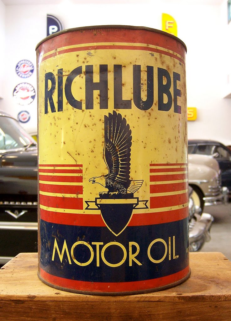 vintage power lube oil cans