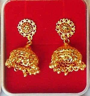 Filigree Gold Jhumka Earrings