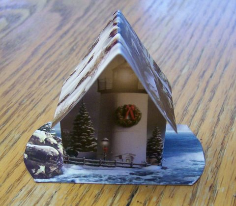 Christmas+Card+House+Ornament Recycling Christmas Cards
