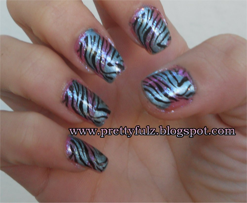 Prettyfulz: KONAD Nail Art | Cotton Candy Zebra Nail Art