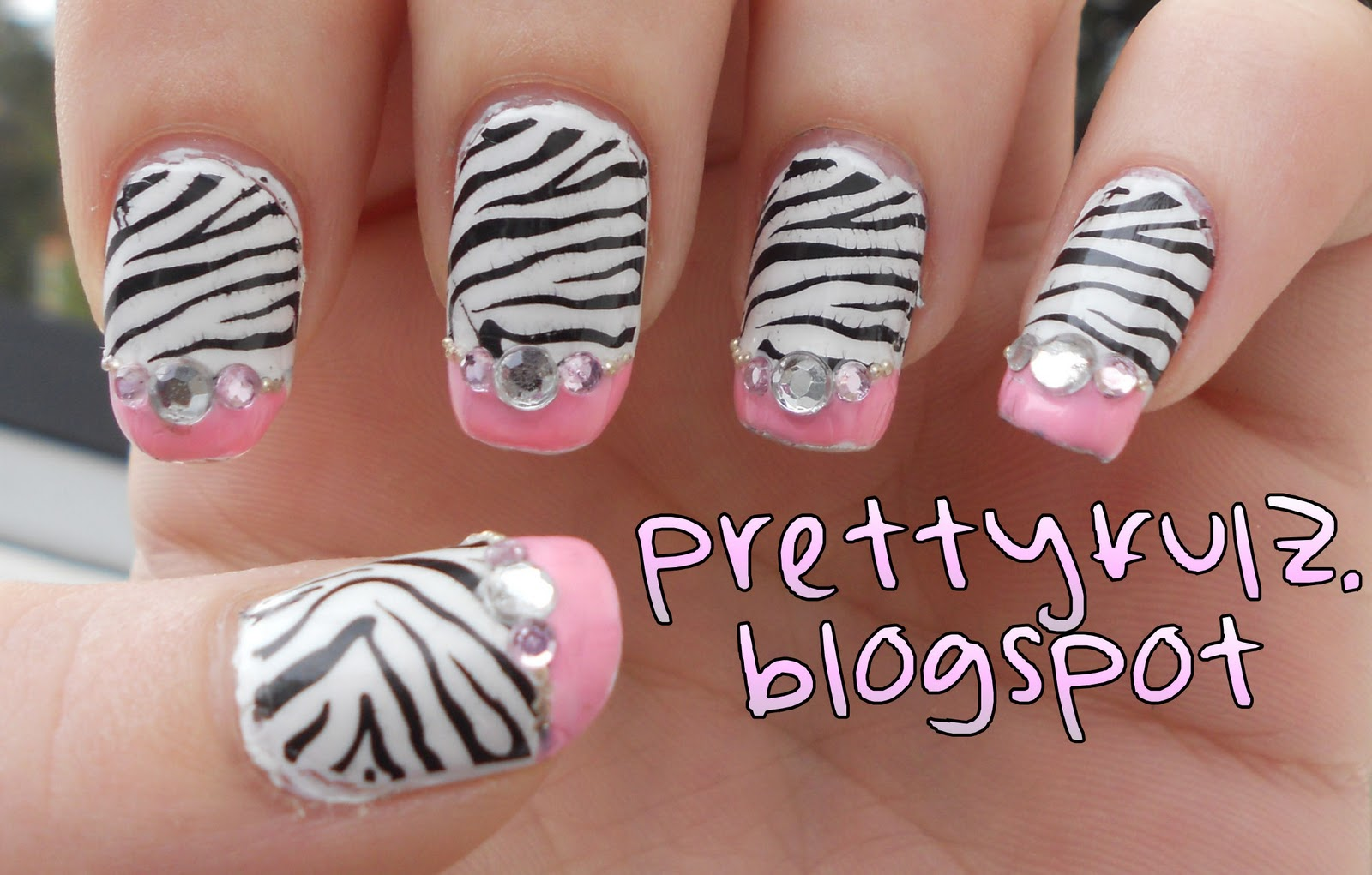 Konad nail art pink zebra nail design