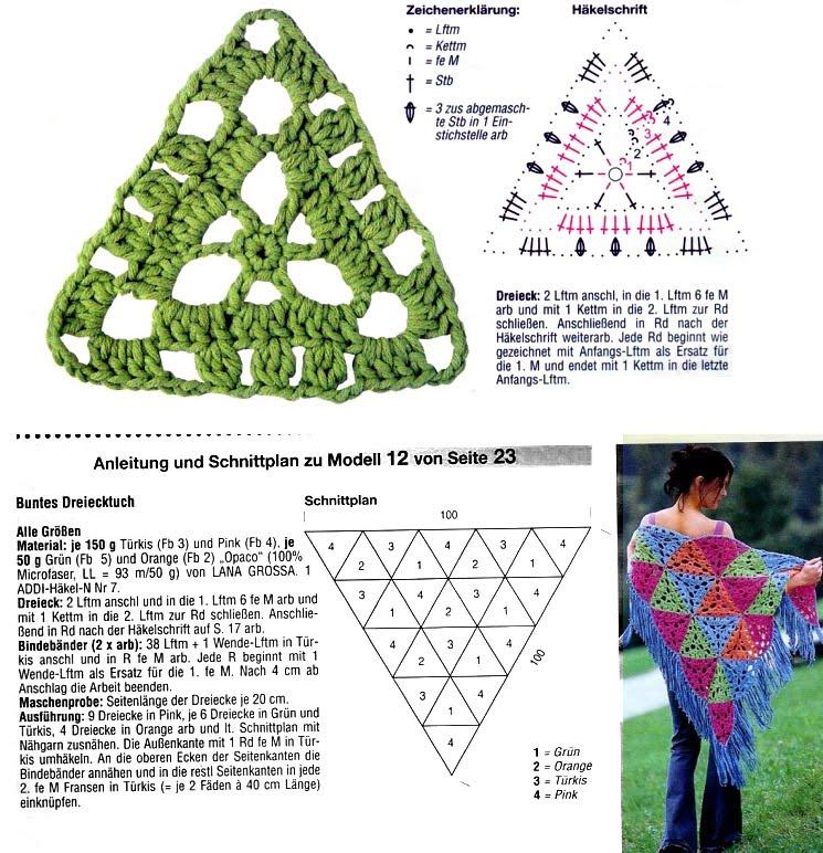 Chalina de flores y chal triangular ~ Solountip.com