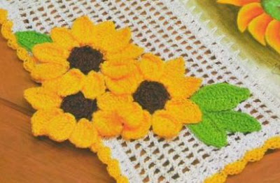 Flores de girasoles tejidas a crochet ~ Solountip.com