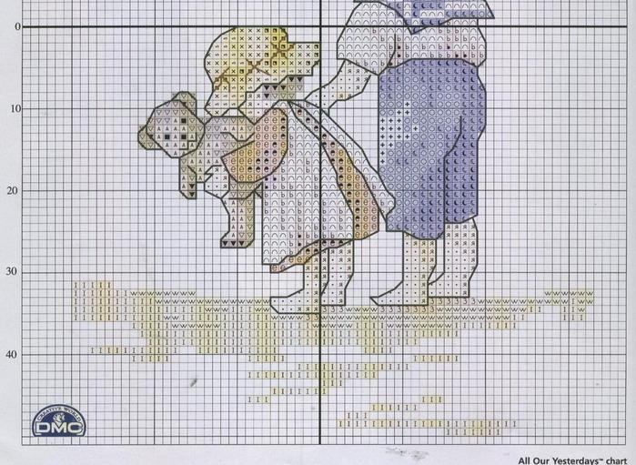 Niños en la playa punto de cruz