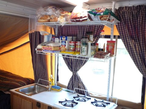 Camping And Gardening Kitchen Shelf Mod For Pop Up Camper