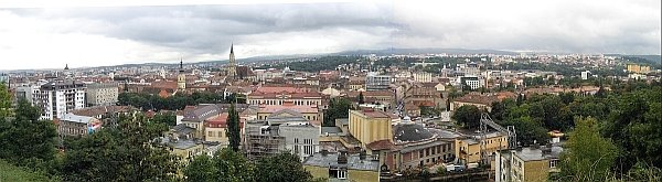 City overview of Cluj Napoca from the top of Citadel Hill