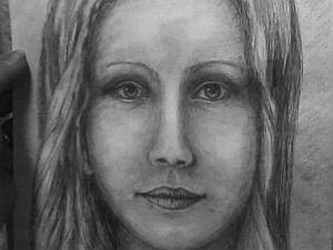 Portrait of a young girl-pencil sketch 1 closeup