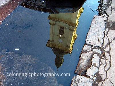 Franciscan Church reflection in the puddle