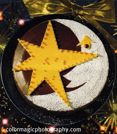 fruit cake decoration. Christmas fruit cake with moon