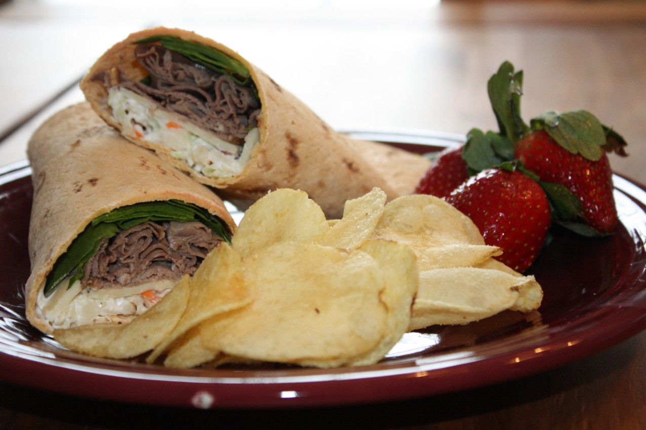 pass the peas, please: roast beef wrap with horseradish slaw