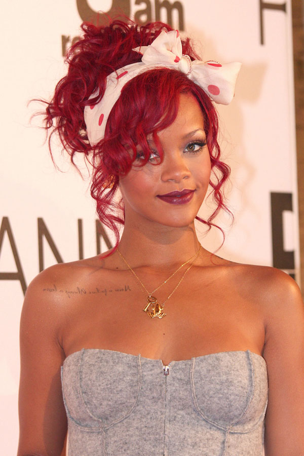 rihanna red hair wallpaper. rihanna hair red short.