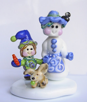 lampwork glass winter snowman scene