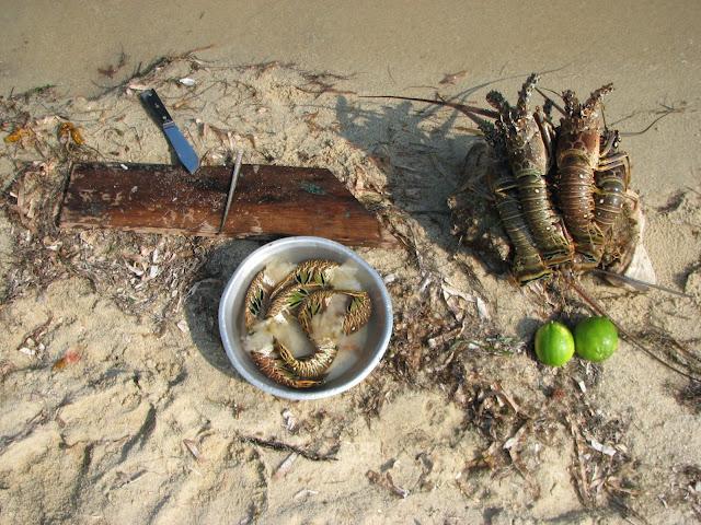 Rice and Beans: A Belizean Food Blog: Winter Break in Belize Part 1: Lobster.