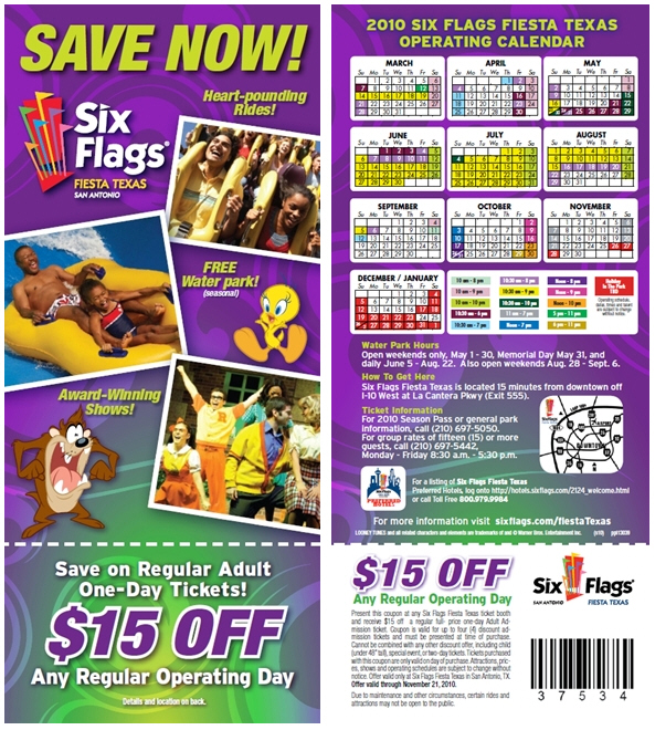 Six flags fiesta texas 2018 coupon book