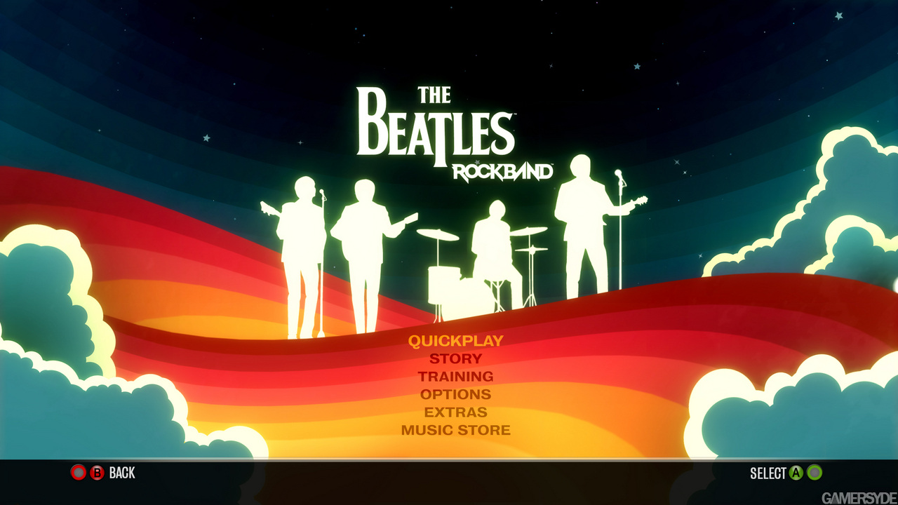 Menú principal en The Beatles: Rock Band