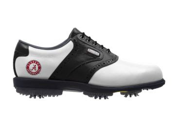 White and black Bama golf shoe with a red logo and long cleats on the bottom below the sole.