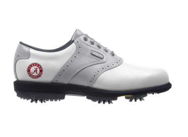 U of AL golf shoe that is white and gray with a red Alabama round logo near the heel. Black sole with rubber cleats on the bottom.