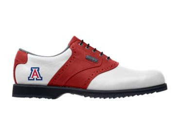 Red and white University of Arizona golf shoe with a logo near the heel and black laces.