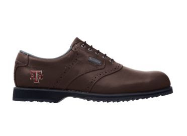 A & M Aggies golf shoe that is brown with a black sole and a maroon school logo on the side near the back above the heel.