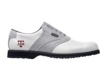 A and M Aggies golf shoe that is gray and white with a Texas A&M Aggies logo on the side.