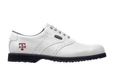 White Texas A&M golf shoe with the school logo on the side of a classic design for a men's size 10 shoe made by Footjoy with a black rubber sole.