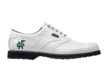 Albert Alligator Florida golf shoe that is white with the green and orange logo of friendly gator mascot on the heel of this women's shoe that is size 9.