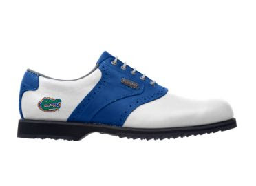 Blue U of Florida golf shoe with school logo on the golf item.